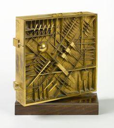Arnaldo Pomodoro, Quadrato I (1981), Gold-plated bronze and wood, 10 5/8 × 8 7/8 × 3 3/4 i…