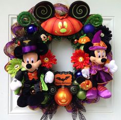 Halloween Minnie Mickey Mouse Wreath by SparkleForYourCastle, $172.00