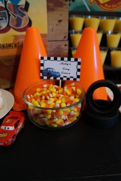 Themed candy at a Disney Cars Birthday Party!  See more party ideas at CatchMyParty.com!