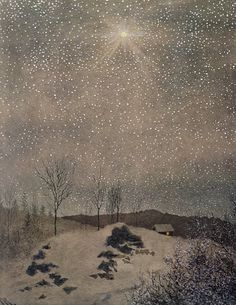 Faint music rings in wold and dell, The tinkling of a distant bell, Where homestead lights with friendly glow Glimmer across the drifted snow; Beyond a valley dim and far Lit by an occidental star,   L.M. Montgomery