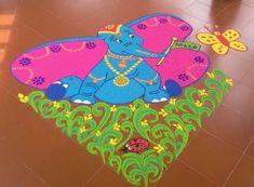 Elephant Cartoon Rangoli Designs