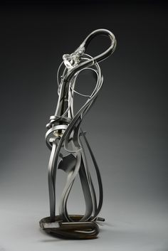 "Albert Paley Silver Fold, 2012 53 x 19 x 24"" Glass and steel Available"