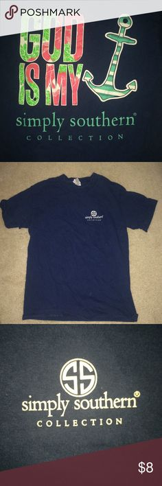 God is my anchor simply southern navy t shirt God is my anchor. Slightly worn but in very good shape. Bought at a boutique Simply Southern Tops Tees - Short Sleeve