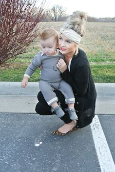 Cara Loren top knot and headband (love the baby's outfit too)
