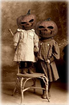 Pumpkin Head Children Vintage Halloween Photo ~ A Short Halloween Story by Sam Stormborn Ormandy #Vintage #Halloween #Pumpkin #Mask