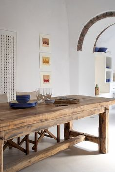 41 Captivating Rustic Dining Room Designs You Cant Miss Out. Rustic dining room tables give an impression of ruggedness to any observer. However, a rustic table is attractive because of that. Rustic Table, Wooden Tables, Farmhouse Table, Farm Tables, Rustic Dining Tables, Dining Room Tables, Chunky Dining Table, Outdoor Farm Table, Long Wood Table