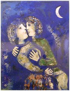Marc Chagall, Les Amoureux à la demi-lune, Stedelijk Museum, Amsterdam… Marc Chagall, Artist Chagall, Chagall Paintings, Oil Paintings, Amsterdam, Jewish Art, Art For Art Sake, Kandinsky, French Artists