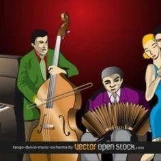 bailando Tango Orquesta contrabajo vector