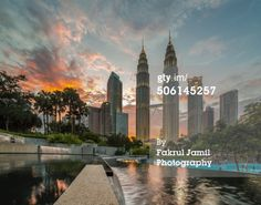 Petronas Twin Towers of Kuala Lumpur, Malaysia view during sunset from its public park. Located in the vicinity of Suria KLCC, the park has been designed to provide greenery to Petronas Twin Towers and the areas surrounding it. The park also have a public pool. #klcc #malaysia