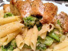 Skinny Parmesan Broccoli Pasta with Baked Garlic Chicken | Get Healthy Confidential