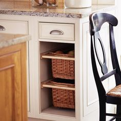 Basket Storage -  Give variety to basic base cabinets by removing a door and adding roomy baskets. Buy hardware to accommodate slide-out baskets and contents become easy to access. Use the baskets to store shelf-stable vegetables, such as potatoes, or kitchen linens.