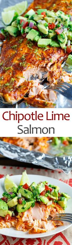 Chipotle Lime Salmon with avocado salsa is a great healthy and easy lunch or dinner option Fish Dishes, Seafood Dishes, Seafood Recipes, Dinner Recipes, Salmon Dishes, Seafood Meals, Paleo Dinner, Holiday Recipes, Healthy Cooking