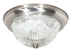 """Nuvo Lighting 76/609 Two Light 11"""" Flush Mount Ceiling Fixture with Clear Ribbed Glass Shade, in Brushed Nickel Finish"""