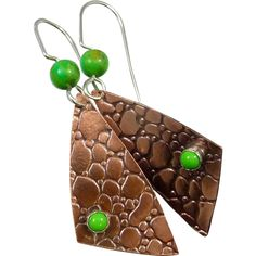 Embossed Copper And Green Turquoise Earrings from muyifabu on Ruby Lane