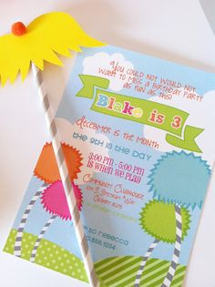 """Love this custom """"Lorax""""-inspired party invite from @Maria Canavello Mrasek Salas Party Studio Rebecca & Shannon!"""