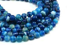 blue stripe agate,8mm round,agate bead, blue,gemstone bead,loose bead, gemstone,bead, wholesale, agate bead, agate, round bead, stone bead