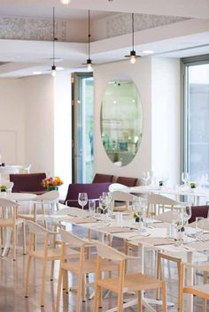 Monza armchairs and chairs, design Konstantin Grcic and Mister X Tables, design Cisotti Laube, at Pinakothiki Restaurant at the A. G. Leventis Gallery in Nicosia, Greece. http://www.plank.it/product/mister-x-table/  http://www.plank.it/product/monza-armchair/  http://www.plank.it/inspirations/