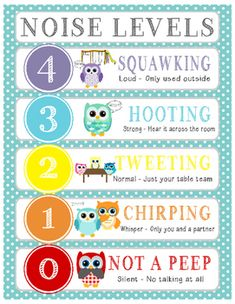 Owl Voice/Noise Levels - Turquoise & White Polka Dot Owl Voice/Noise Levels Chart - Turquoise & White Polka Dot An effective classroom management strategy to control voice and noise level in your classroom. Owl Classroom Decor, Classroom Behavior, New Classroom, Kindergarten Classroom, Classroom Themes, Classroom Rules, Classroom Posters, Behavior Cards, Preschool Themes