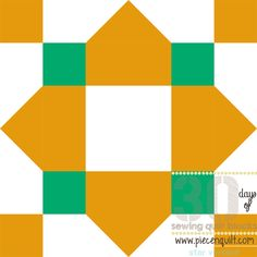Teal accents pop against mustard fabric in this Quarterfoil Star Block, especially when many blocks are sewn together to form a single quilt. Although the pattern in a single quilt block features a white square inside a mustard diamond, when the entire quilt is put together, mustard diamonds within white squares appear as well.
