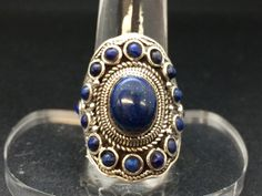 Lapis Lazuli Ring Oval Ring Sterling by AngelWearDesigns2013
