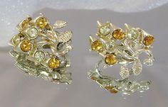 Vintage Earrings Coro Amber Rhinestone by waalaa on Etsy, $19.99