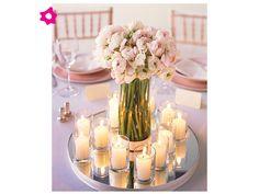 Centros de mesa para boda con velas pequeñas