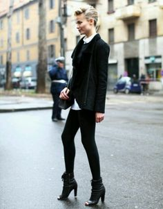 Natasha Poly in all black