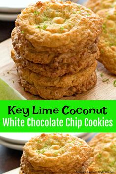 Island inspired Key Lime Coconut White Chocolate Chip Cookies are to die for. They're a bite of sunshine that never last very long in your cookie jar. Cookie Desserts, Cupcake Cookies, Just Desserts, Cookie Recipes, Delicious Desserts, Dessert Recipes, Dessert Bars, Lime Desserts, Banana Cupcakes