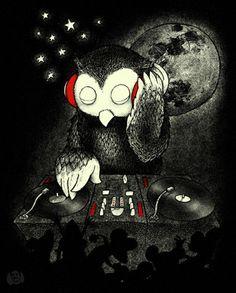 DJ Night Owl spinnin'. #dj #djart #djculture #music http://www.pinterest.com/TheHitman14/dj-culture-vinyl-fantasy/