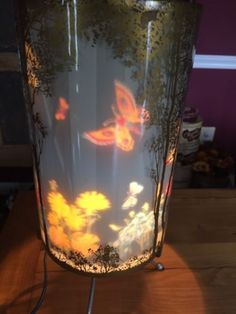 Vintage-1956-L-A-Goodman-Butterflies-and-Flowers-Motion-Lamp-Paul-Miller