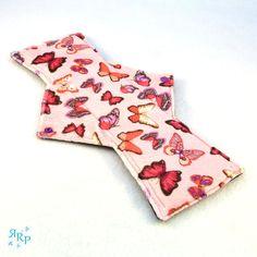 Cloth Menstrual Pad, Mama Cloth, Minky, Sanitary, Reusable, Maternity, WindPro Polartec Fleece, Postpartum Night Pad, Butterflies Pink
