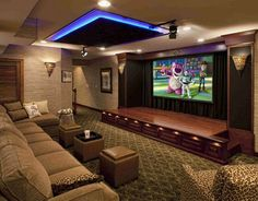 Basement home theater ... perfect for movie night! | More basement ideas: http://www.homechanneltv.com/photos-basements.html
