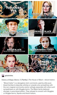 The Noble House of Black, toujurs pur, cedrella black, cedrella weasley, eduardus black, phineas black, Sirius black, andromeda black, andromeda tonks, Isla black, Isla hitchens, Harry Potter, hp