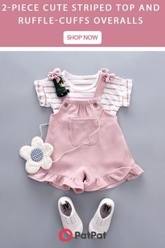 * Round collar * Breathable and comfy * Material: Cotton, Spandex * Machine wash, tumble dry * Include: 1 top, 1 overalls * Imported Baby Girl Fashion, Toddler Fashion, Kids Fashion, Baby Outfits Newborn, Baby Boy Outfits, Kids Outfits, Baby Girl Dresses, Baby Dress, Baby Kids Clothes