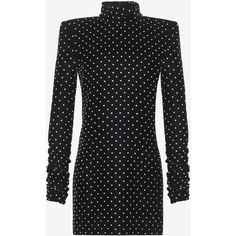 Saint Laurent Mini Dress With A Turtleneck And Square Shoulders (9 985 AUD) ❤ liked on Polyvore featuring dresses, short dresses, white dresses, white long sleeve dress, long-sleeve mini dresses and white long-sleeve dresses