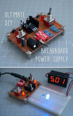 This will power any breadboard - and do it really well, with enough options to make it indispensable for small prototyping projects. Electronic Circuit Projects, Electrical Projects, Electronic Engineering, Arduino Projects, Diy Projects, Electronics Basics, Hobby Electronics, Electronics Projects, Electronics Gadgets