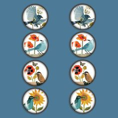 Birds Magnet Set Of 8, $17.50, now featured on Fab.