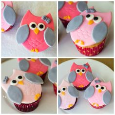 Pink and gray fondant owls on cupcakes for baby girl shower!