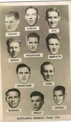 England 2 Scotland 3 in April 1951 at Wembley. Scotland team pics of the team that won at Wembley #HomeChamp