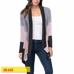2017 Womens Clothing Autumn Three-color Stitching Long-sleeved Cardigan Long Jacket