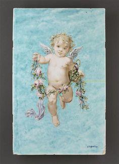 Plaque décorative ; Angelot à la guirlande de fleur