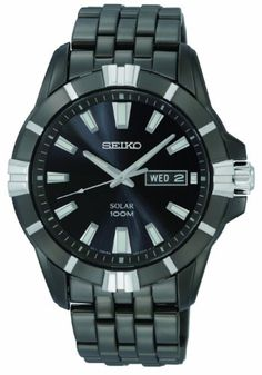 Seiko Men's SNE177 Solar Black Dial Watch >>> Want to know more, click on the image.