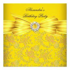 Gorgeous Yellow Rose Damask Birthday Party Invites