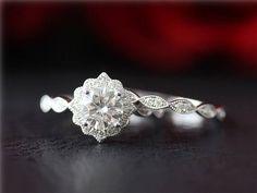 Moissanite Wedding Set 14K White Gold 1ct Moissanite Engagement Ring &Diamond Band/Anniversary Ring/Wedding Ring Set/Promise Ring/Bridal Set