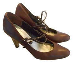 Nine West Classic Leather 7.5 M Brown Pumps with Patent Heel and Straps!   18 with ea01c9ca5913
