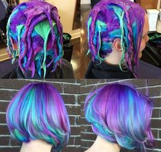Image result for blue, aqua, purple, green hair