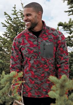Men's Cloud Layer 1/4-Zip - Printed   Quick-drying, technical polyester microfleece, in a new geese-in-flight print.