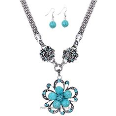 YAZILIND Women's Jewelry Tibetan Silver Turquoise Crystal Flower Pendant Necklace and Earrings Sets  BUY NOW     $7.99     Arrival time:  It usually takes around 15-25 days for arrival. Please choose the suitable shipping as needed , please ignore the Amazon shipping time .   About Feedb ..