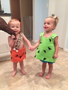 This is how you do twins costumes!! Cutest grand babies ever! Pebbles and Bam Bam  sc 1 st  Pinterest & Baby and Toddler Pink Pebbles Flintstone Toddler Costume | Pinterest ...