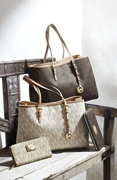 Michael Kors Tote Bags Dark Gray Gold Hardware